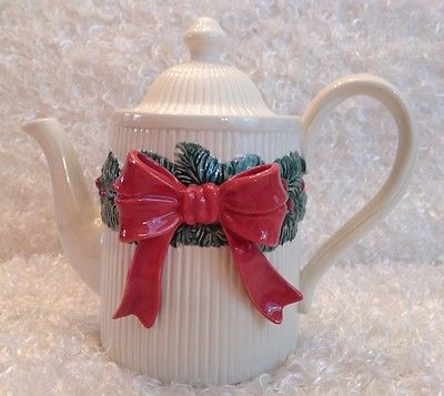 Fitz & Floyd Christmas Garland Teapot with Lid Vintage 1992
