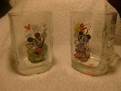 McDONALDS WALT DISNEY Mickey Mouse WORLD SQUARE DRINKING GLASSES