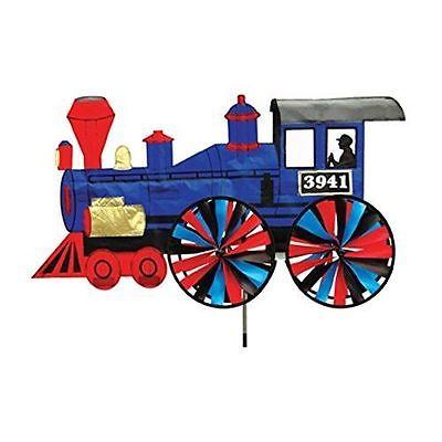 Blue Train Steam Engine Wind Spinner Windspinner Whirligig - weatherproof yard
