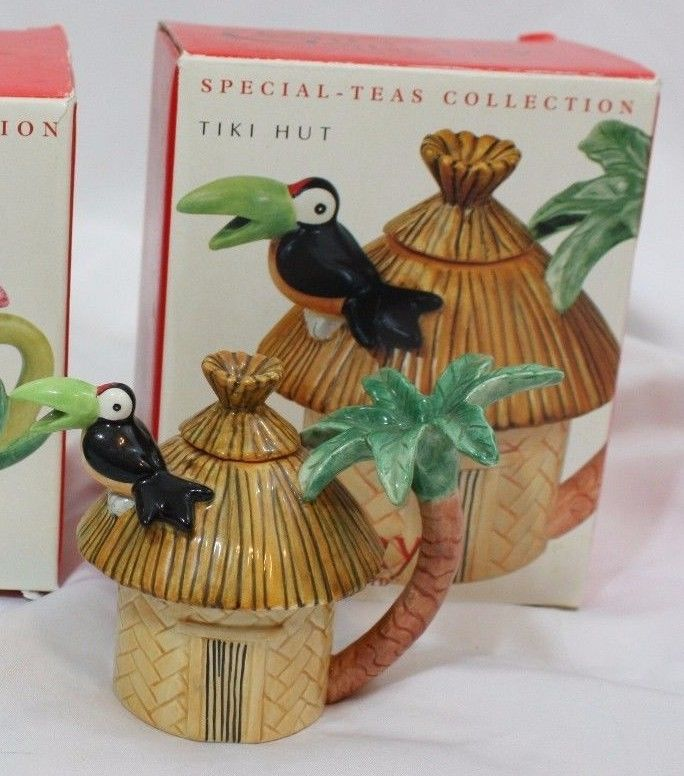 Fitz & Floyd Tiki Hut House Teapot special teas collection