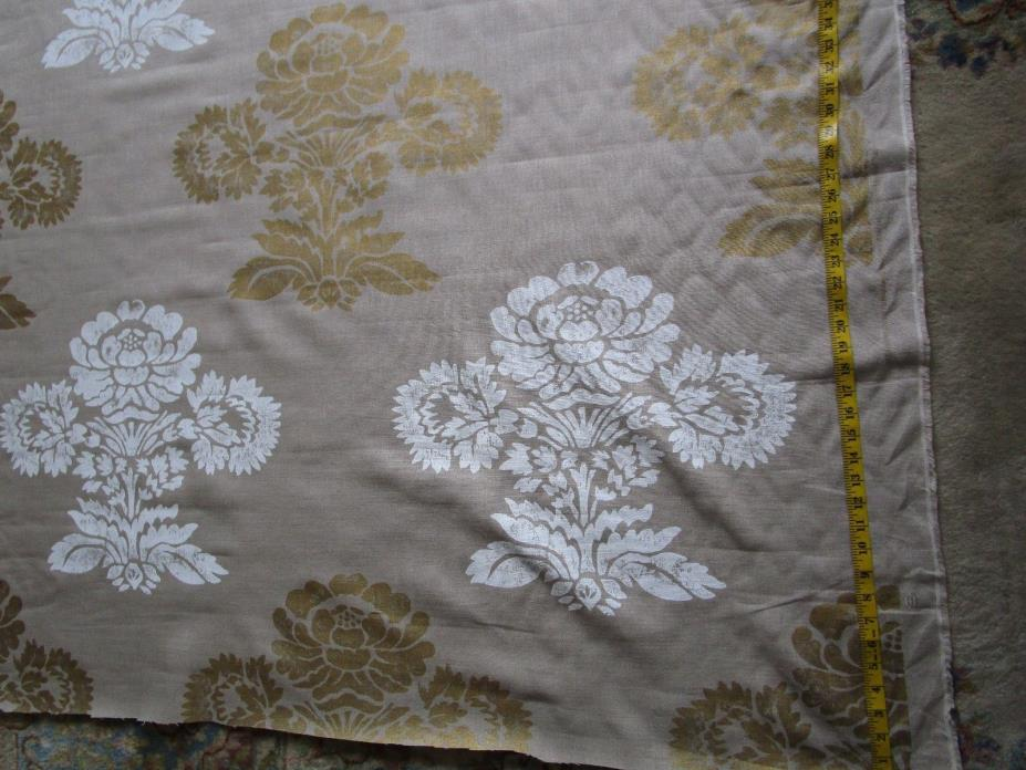 Designers Guild Linen fabric Gold White Large Flowers 93