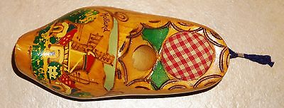 Vintage Windmill  Wooden Clog Shoe Pin Cushion & Thimble Holder From Holland