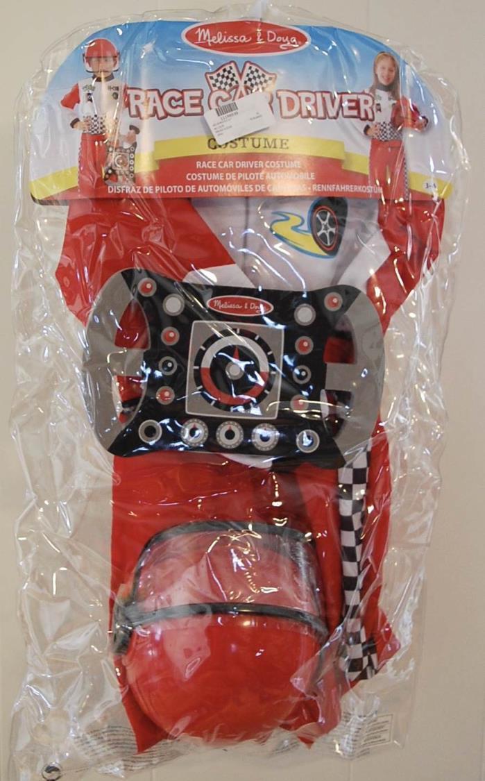 Melissa & Doug Race Car Driver Costume 3-6 Yr NIP Jumpsuit Helmet Steering Wheel