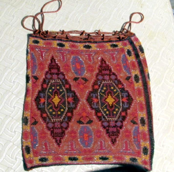 Art Deco Beaded Bag Micro Beads  Antique Drawstring