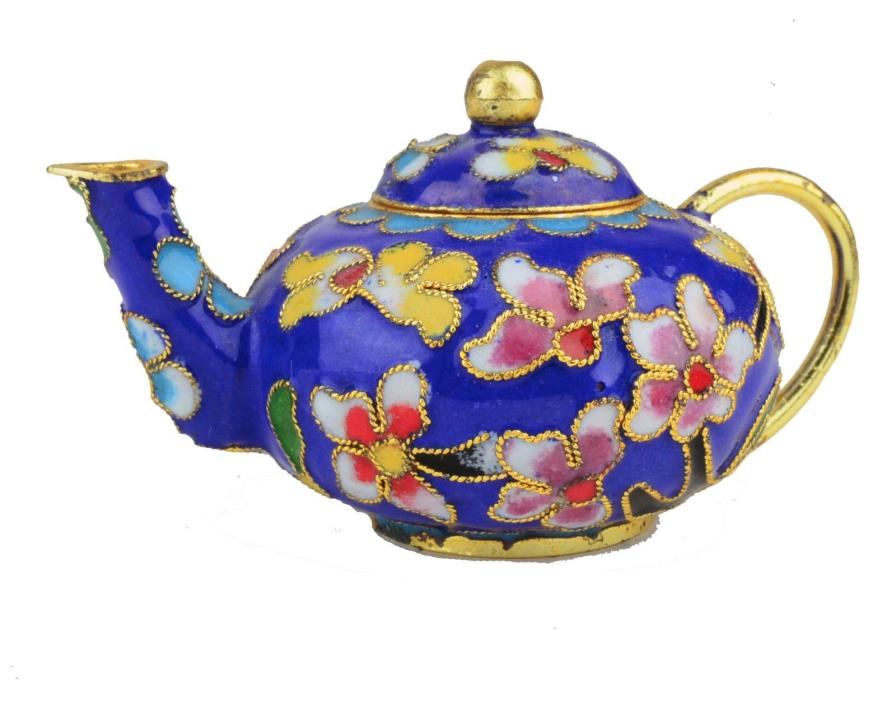 Old Enamel & Brass Chinese Cloisonne Hand painted Miniature Flower Teapot