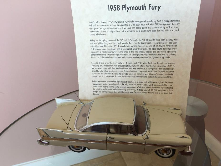 1958 PLYMOUTH FURY BEIGE HARDTOP DANBURY MINT 1:24 DIECAST