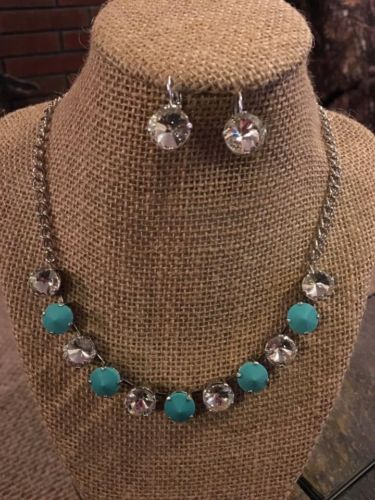 12mm Cup Chain Necklace Set With Matching Earrings Turquoise & Clear Colors