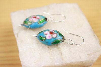 Chinese Japanese Oriental Enamel Cloisonne Blue Flower Charm Earrings 925 Silver