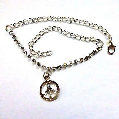Silver Rhinestone And Chain Anklet With Crystal Peace Sign