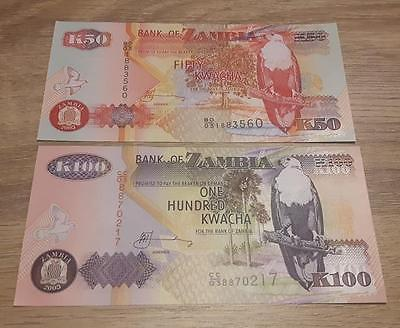 ZAMBIA - Beautiful set - 50 and 100 Kwatcha - UNC * P -37 and P - 38 * EAGLES