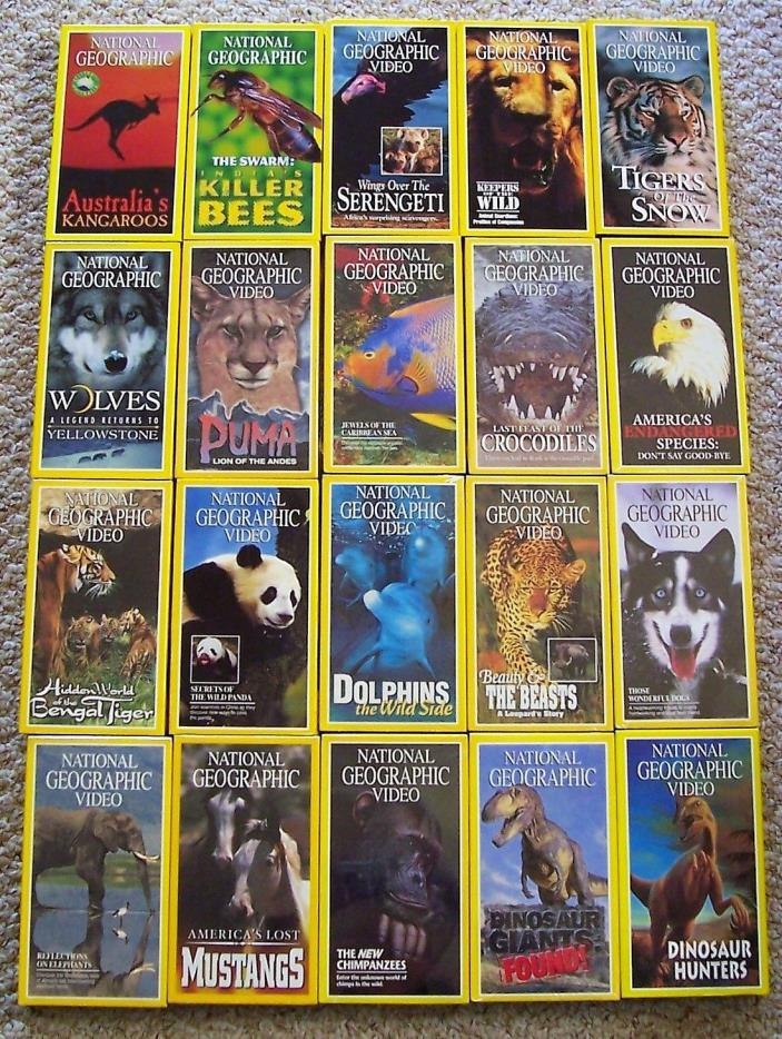20 National Geographic VHS Tapes Animals, Fish, Bees and Dinosaurs 12 Sealed