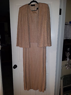 Beautiful Alex Evenings Pink/Gold Dress and Jacket, Size 14P - Gently Used