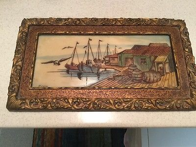 VNTG Artini Sculptured Engraved Four Dimensional Hand Painted Twin Etched Plaque