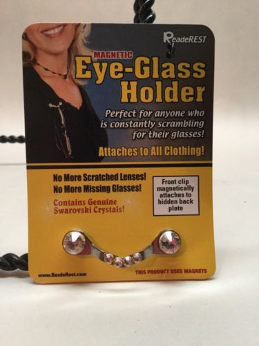 READEREST Magnetic Eye-glass Holder W/ Genuine Swarovski Crystals.  B3