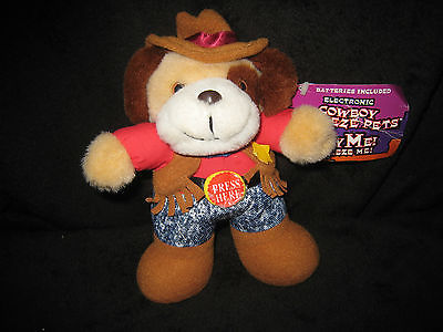 Vintage Cowboy Electronic Squeeze Pets (Bear) with Sounds
