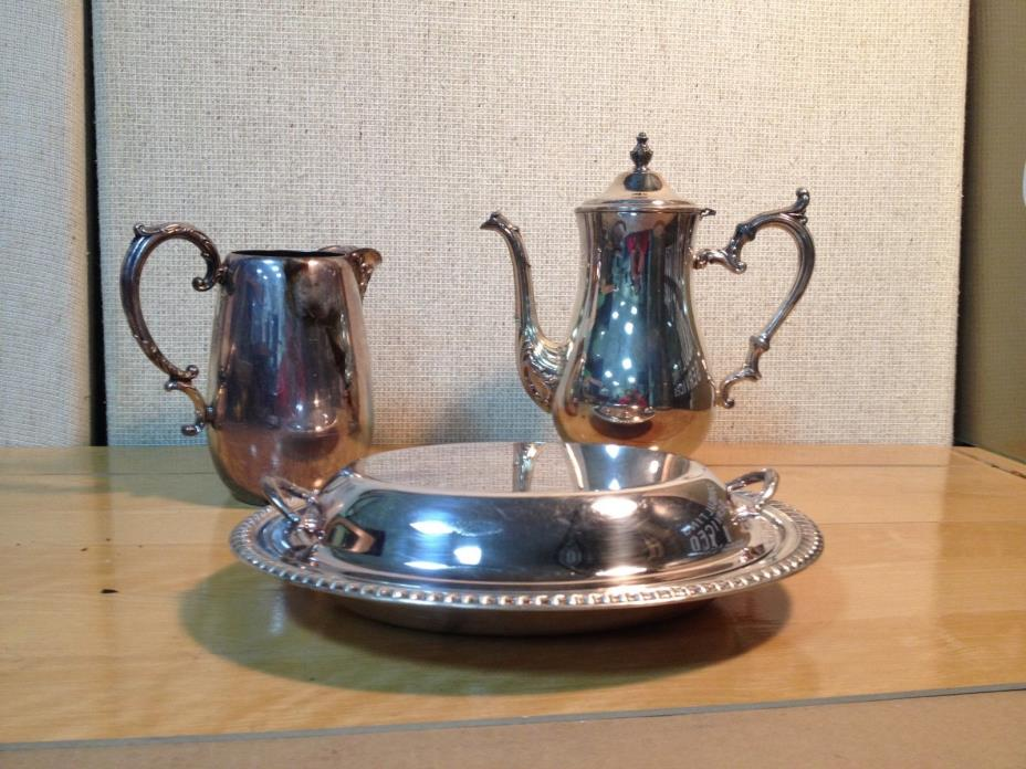 Vintage Set of 3 Silver Plated Pitcher, Coffee Pot and Dish with Lid