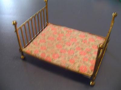 Doll House Furniture Brass Bed w/Mattress