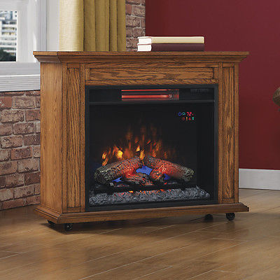 Duraflame Rolling Mantel with Infrared Quartz Electric Fireplace