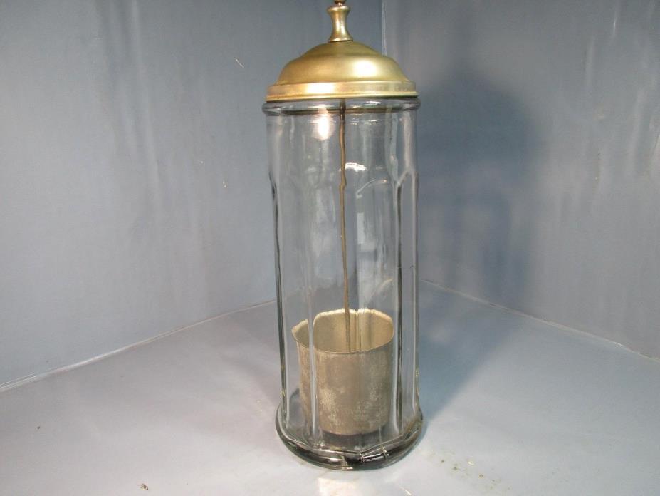 Vintage Very Heavy Glass Soda Fountain Straw Holder / Dispenser Bloomfield Indus