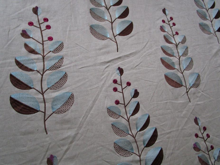 10+ YD Embroidered Decorator Linen Fabric Modern Exotic Leaf berry Large Flower