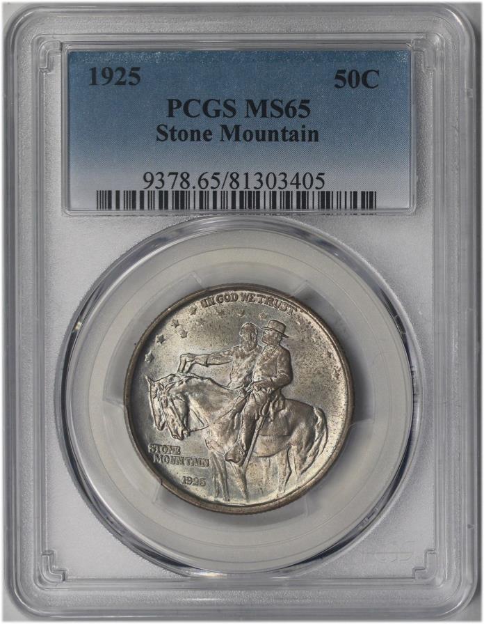1925 Stone Mountain Silver Commemorative Half Dollar 50C MS 65 PCGS Toned