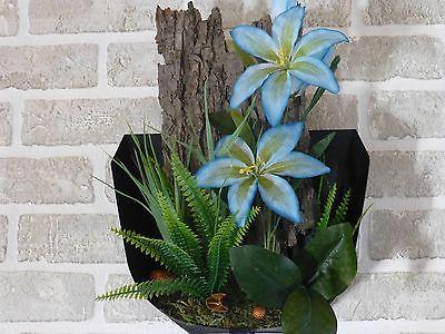 Home decor blue silk lily flower arrangement wall pocket
