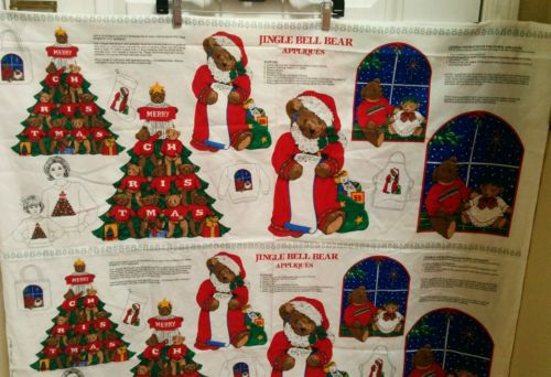 VIP Cranston Fabric Jingle Bell Bear Xmas Tree Panels lot of 4 Bazaar gifts