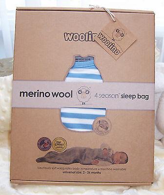 WOOLINO Baby Sleep Bag, Merino Wool, 2 Months - 2 Years, Blue Bell NEW in BOX