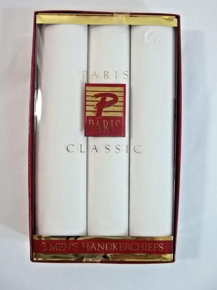 Paris Classic White Handkerchiefs Mens Box of 3 New 16 x 16