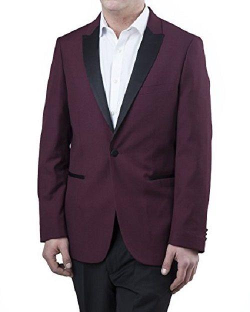 LONDON FOG Mens Peak Lapel Regular Fit Burgundy Two Piece Tuxedo