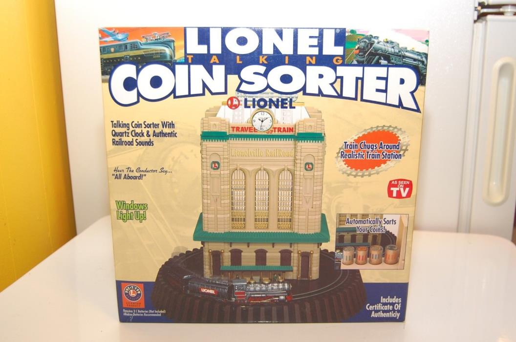 Vintage LIONEL Train Depot Clock Bldg Talking COIN SORTER Bank - NEW IN BOX