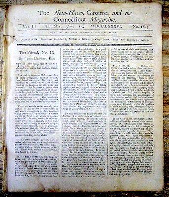 <1786 newspaper SAMUEL ADAMS ELECTED SENATOR Bowdoin Governor after JOHN HANCOCK