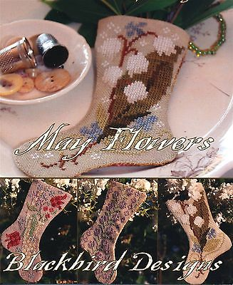 Blackbird Designs MAY FLOWERS 3 Cross Stitch Charts/Leaflet ~ lily of the valley