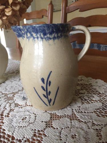 Antique Roseville Pottery Blue Sponge & Wheat Decoration Pitcher -  Stoneware