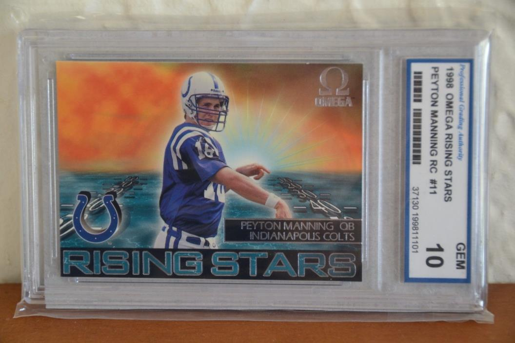1998 Pacific Omega Peyton Manning Rising Stars Rookie Card #11 -Graded 10 GEM MT