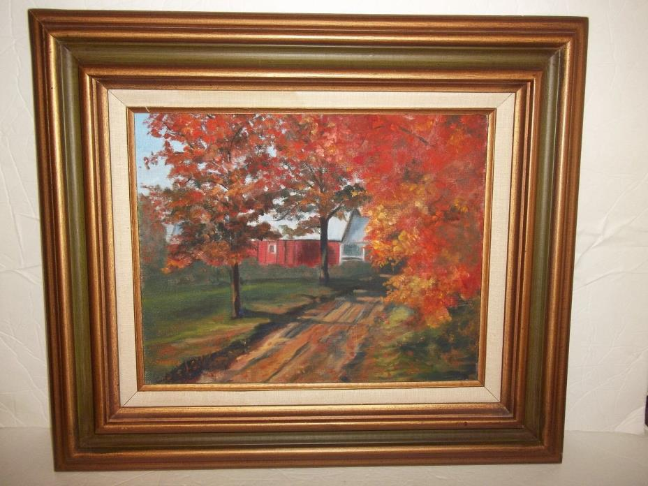 Vintage Art Work Picture Framed Landscape Autumn Farm Barn Oil Painting Sheeve