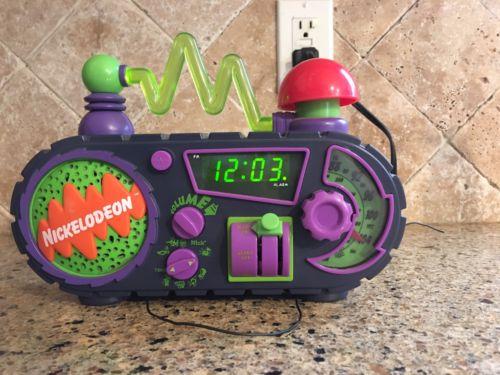 Vintage '90s Nickelodeon Time Blaster Light Up Alarm Clock  AM/FM Radio Works!