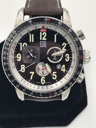 Authentic Men's ESQ Swiss Stainless Steel Tachymeter Leather Watch 07301238