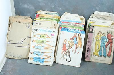 Lot of 46 Vintage 60s 70s Sewing Patterns Simplicity, McCalls, Vogue, Butterick+