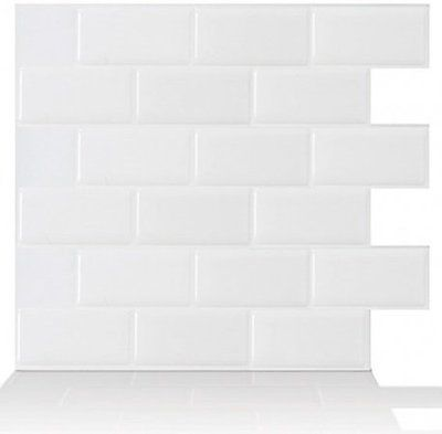 Tic Tac Tiles Premium Anti Mold Peel and Stick Wall Tile in Subway White 10 pack