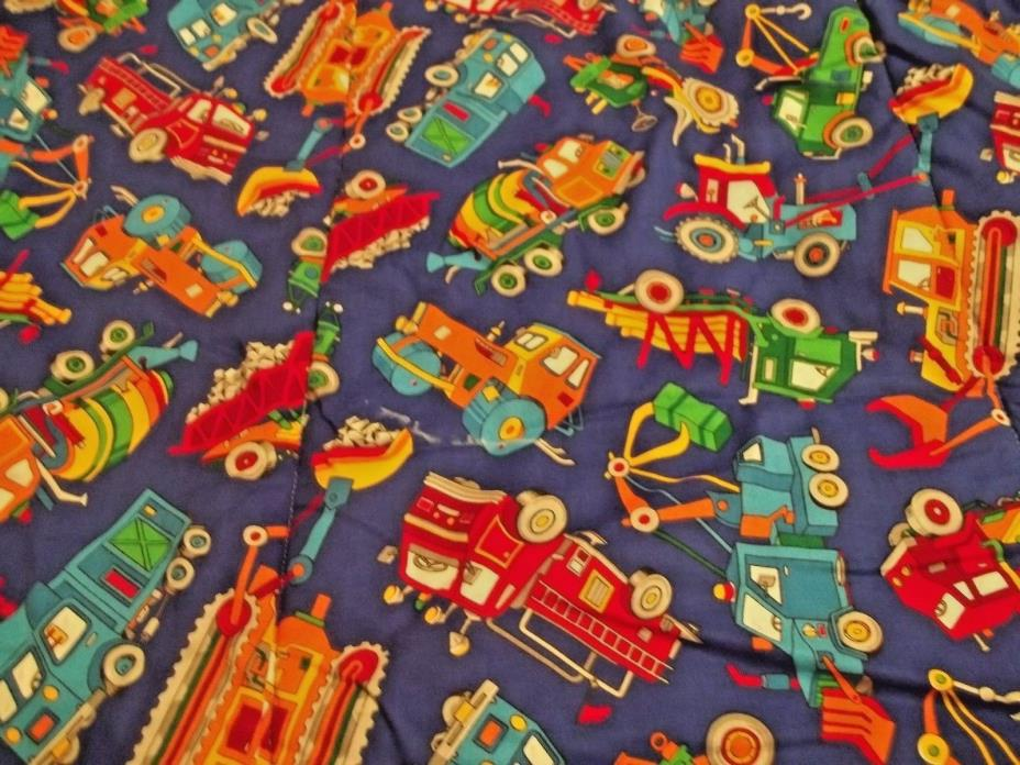 Boys Handmade Quilt /Bedspread Trains and Vehicles 72 x 85 w/4 pillow covers
