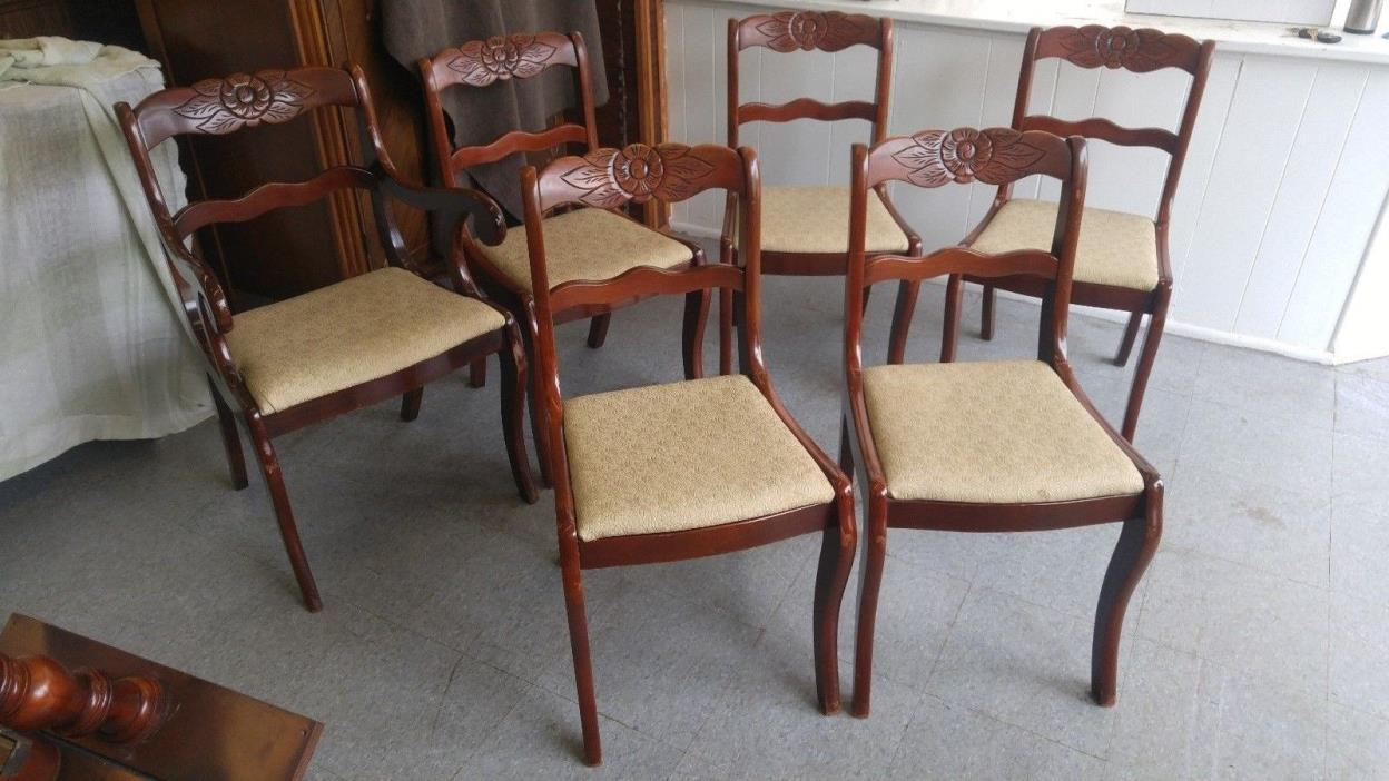 Duncan phyfe rose back chairs - 6 1940 S Tell City Duncan Phyfe Rose Carved Back Mah Dining Room Chairs