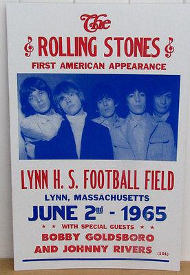 Vintage Rolling Stones Concert Poster 1965, Lynn, MA