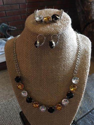 12mm Cup Chain Necklace Set With Matching Earrings Pittsburgh Colors