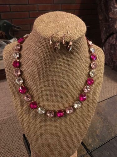 12mm Cup Chain Necklace Set With Matching Lever back Earrings Pink Colors