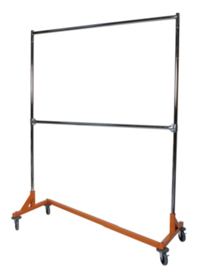 5' Foot Deluxe ADJ Height Commercial Double Rail Rolling Z Rack Chrome & Orange