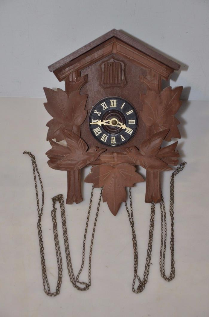 Vtg GERMANY WOODEN CUCKOO WALL CLOCK BIRDS  PARTS OR REPAIRS