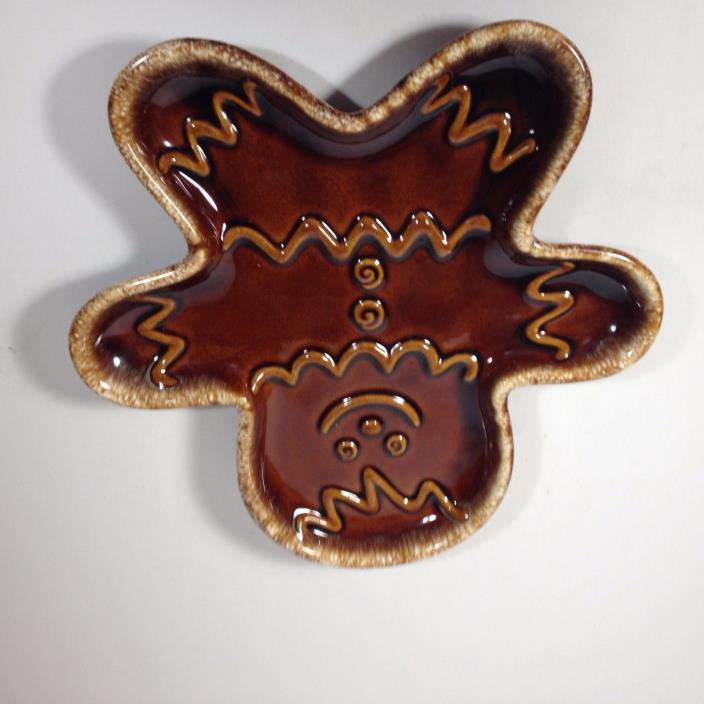Vintage Hull Pottery Brown Drip Gingerbrean Man Cookie Plate