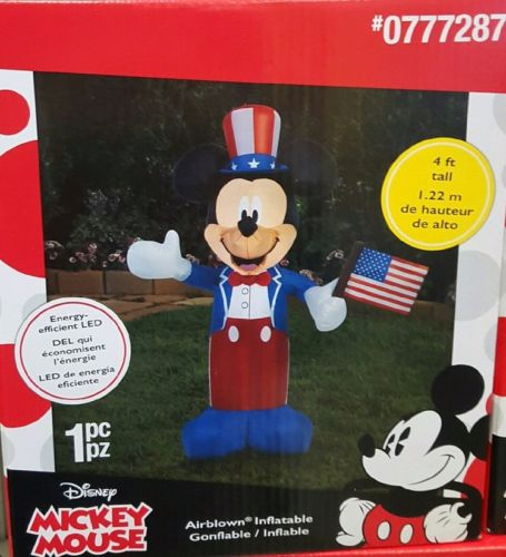 Disney 4 ft Mickey Mouse Patriotic Memorial Day 4th of July Airblown Inflatable