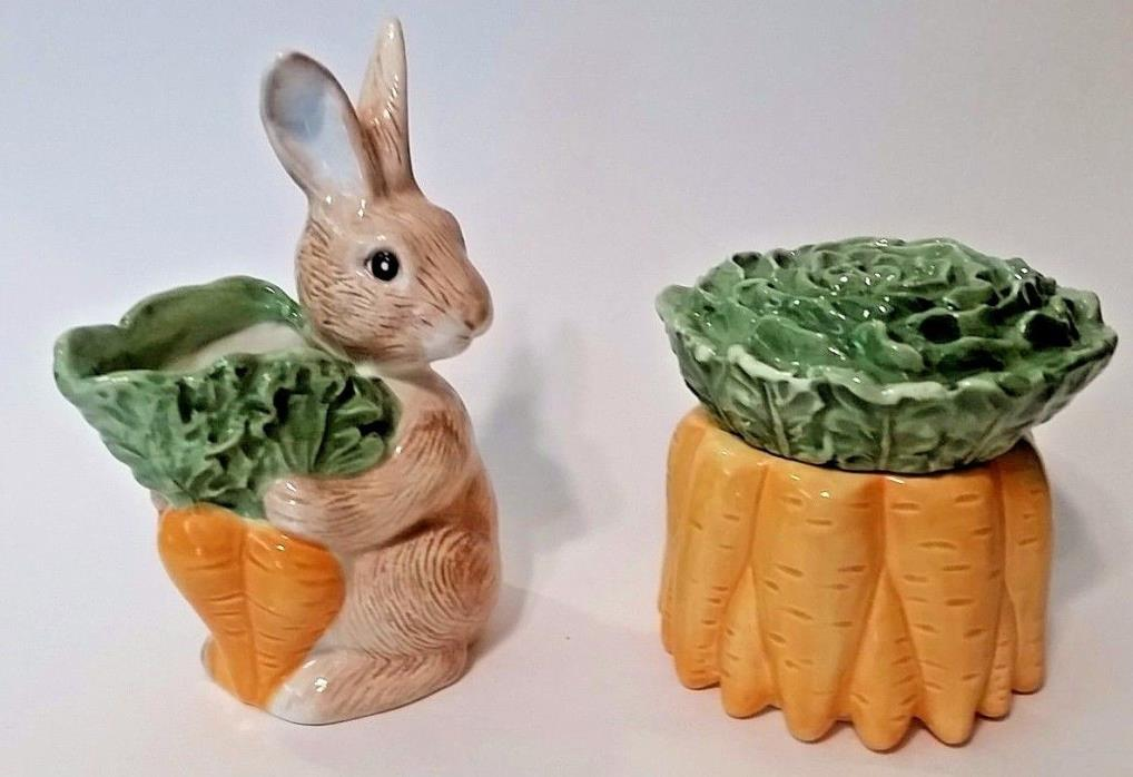 Fitz & Floyd Bunny Rabbit Creamer & Carrot Bunch Sugar  - OCI Omnibus
